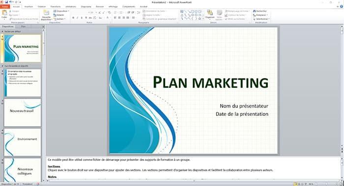 plan marketing avec PowerPoint