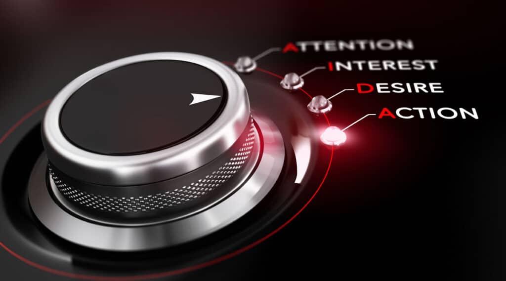 Quatre étapes Du Modèle Aida En Marketing